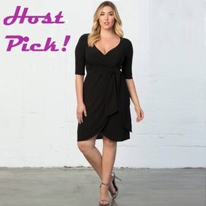 Kiyonna Harlow Faux Wrap Dress Black